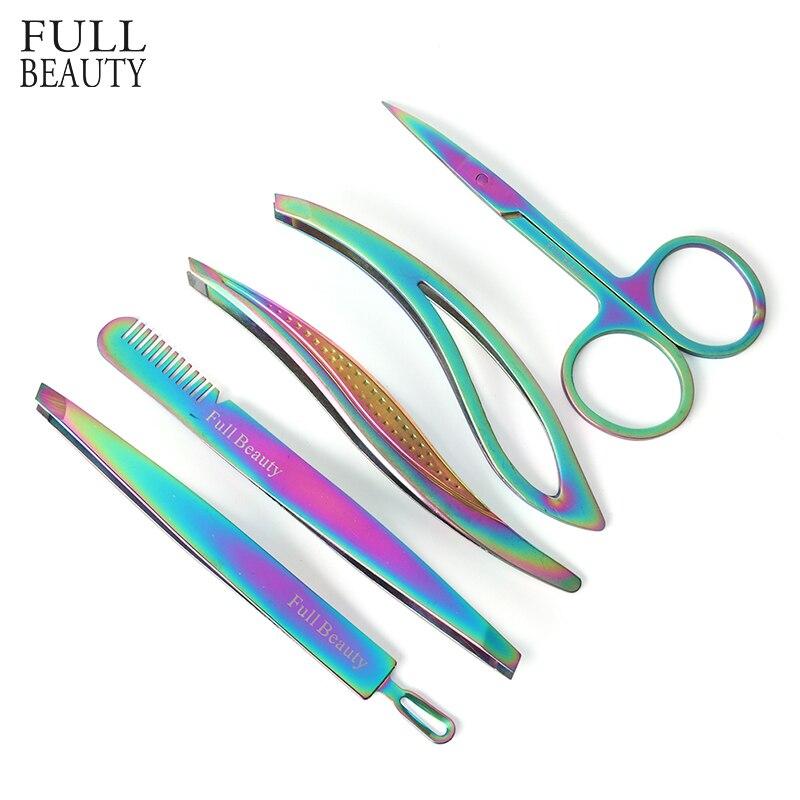 1pcs Stainless Steel Eyebrow Tweezers Scissor Slant Trimmer False Eyelash Extension Clip Hair Removal Nail Makeup Tool CHFBM1-5