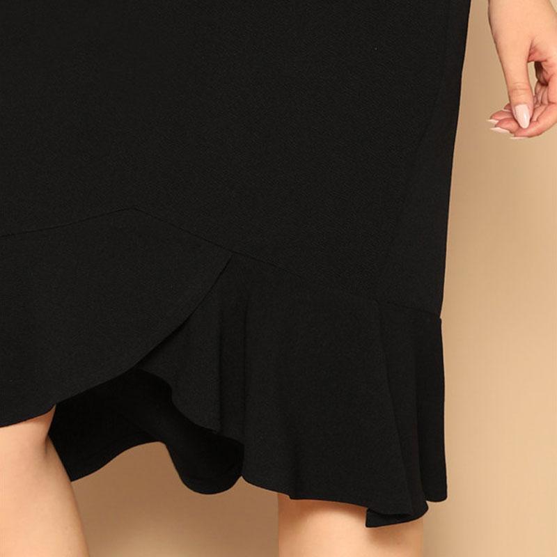 Falda Talla Plus Cybele negra hasta las rodillas Paraíso de la Moda | PdM