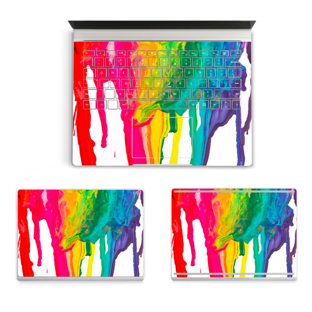 2017 Laptop Oil Painting Sticker For Micro Surface Book Top Bottom Vinyl Decal+US Keyboard Sticker Grafitti Skin Logo Cut Out colorful laptop sticker decal skins for macbook 11 13 15 17 inch sticker for mac book rainbow logo free shipping new arrival