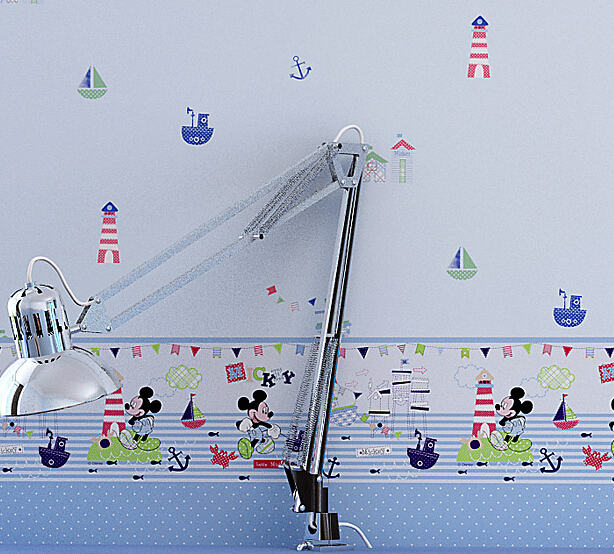 2016 new sale upscale child room star environmental non-woven wall paper bedroom sailing cute cartoon wallpaper fairy tale world