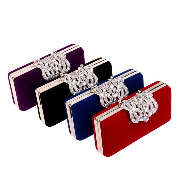 Crown rhinestones evening bag