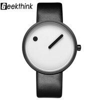 GEEKTHINK 최고 브랜드 창조적 석영 시계 남성 럭셔리 캐주얼 블랙 일본 석영 시계 간단한 디자이너 패션 시계 남성