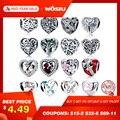 Wostui 100% auténtica Plata de Ley 925 forma de corazón cuentas de encanto Ajuste de marca pulsera DIY joyería de plata Original