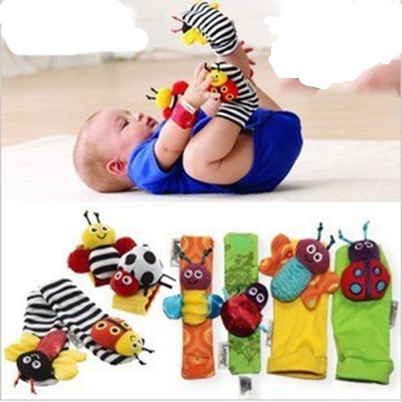 Newborn Baby Infant Soft Rattles Wrist Handbell Foot Finders Socks Developmental Toy For 0-2Y Children