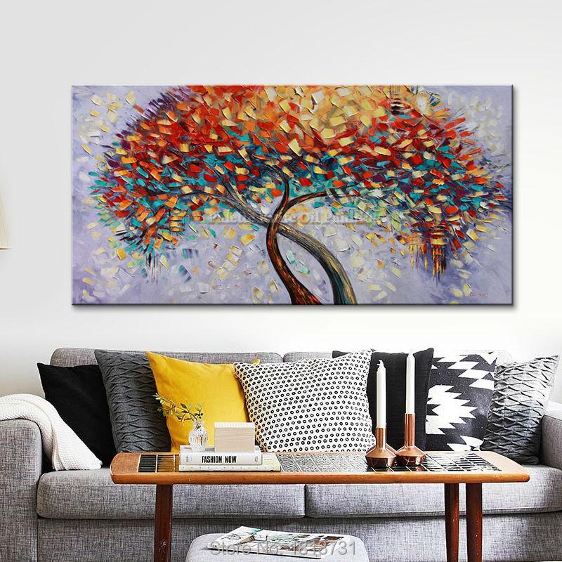 Lukisan Minyak Buatan Tangan Pisau Palet Bunga Lukisan Minyak Di Atas - Dekorasi rumah - Foto 2