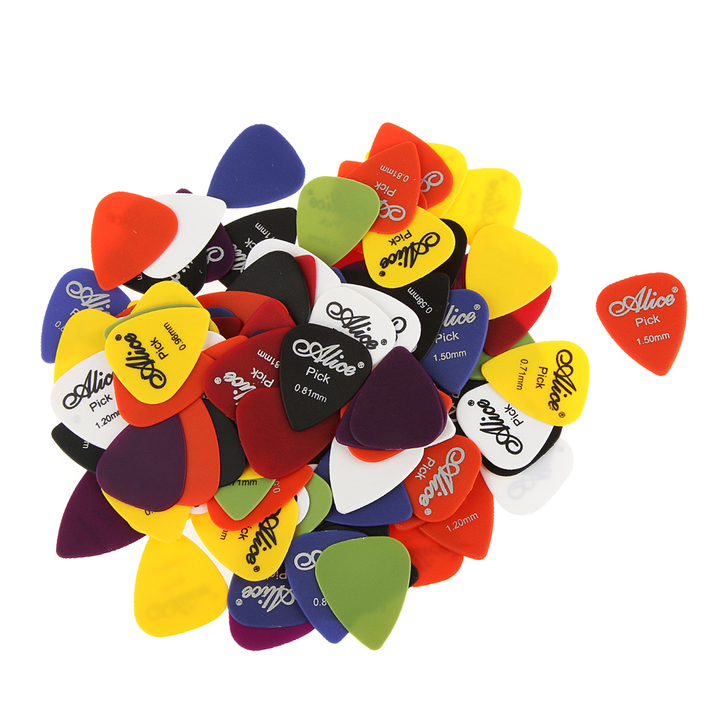 100 PCS Alice Professional Smooth Nylon Material Guitar Picks Plectrums Assorted Thickness & Colors Set image