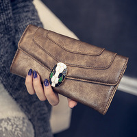 Clutch Mobile Phone Wallet Women 2016 New Fashion Snakeheads PU Leather Wallet High Quality Women Wallet