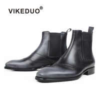 VIKEDUO Brogue Chelsea Boots For Men Black Gray Square Toe Genuine Cow Leather Ankle Boots Male Winter New Casual Mans Footwear