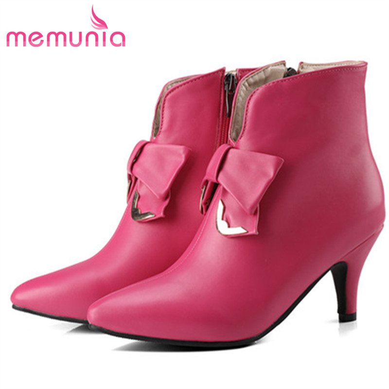 MEMUNIA Elegant party shoes woman ankle boots for women pointed toe solid PU zip high heels boots female large size 34-45 morazora bind pu solid high heels shoes 5cm in summer fashion elegant party shoes sandals party large size 34 42