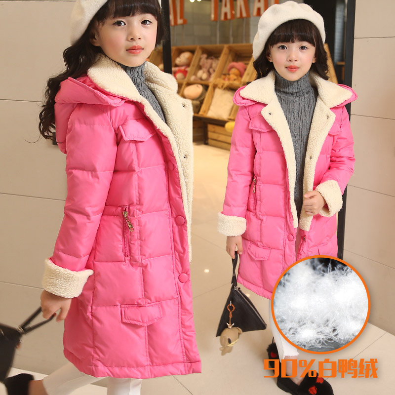 Girls down jacket coat 90% white duck down outerwear winter fashion thick woolen blend for 4 5 6 7 8 9 10 11 12 13 14 years kids long black girls down coat winter solid 80% white duck down fur hooded fashion pink for 10 12 14 years grils outerwear