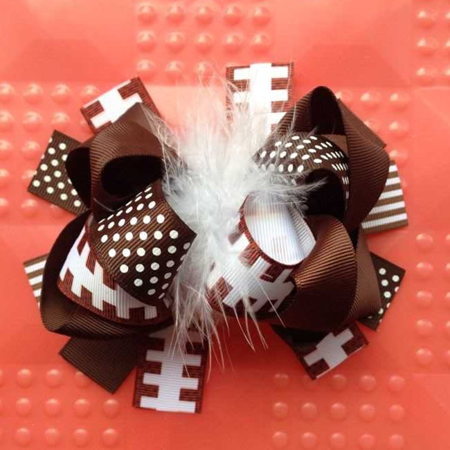 12 pcs 5.5-6 inch baby girl head hair accessories children fashion feather hair football ribbon bows clip yiwu bows   headwear