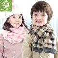 Luxury Brand Plaid Cashmere Tassel Knit Child Scarf Girl Neck Warm Scarf Boy Neckerchief Autumn Winter Scarf Kids Muffler Shawl