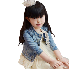 2-7Y Baby Girls Lace Long-sleeve Jacket Coat Denim Top Button Children\'s Jean Coat Autumn Spring Children Outerwear