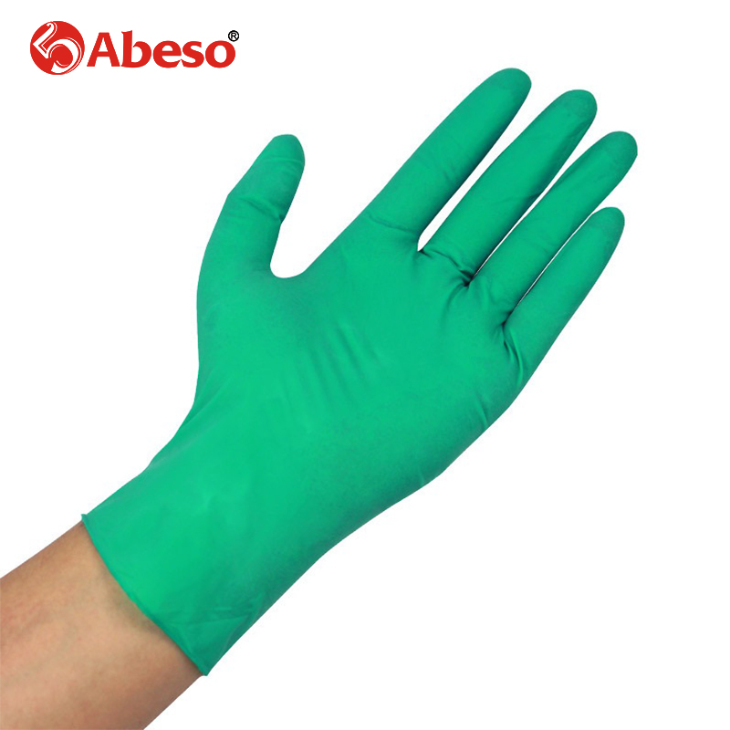ABESO NBR latex durable lengthen disposable gloves  50/100 pcs for food home clean Acid Alkali resistance antiskid golves A7110 anti acid and alkali chemical corrosion fisheries agriculture latex rubber gloves labor supplies black