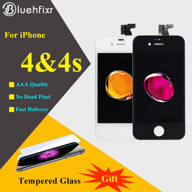 10pcs DHL For iPhone 4 4S LCD Screen Display Touch Screen Digitizer Assembly Phone Replacement Parts Mobile Phone LCD AAA