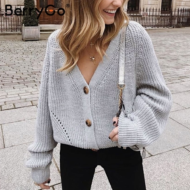 BerryGo Sexy v-neck women knitted cardigan Casual button bat sleeve white sweater cardigan Autumn winter loose knit sweater coat 1