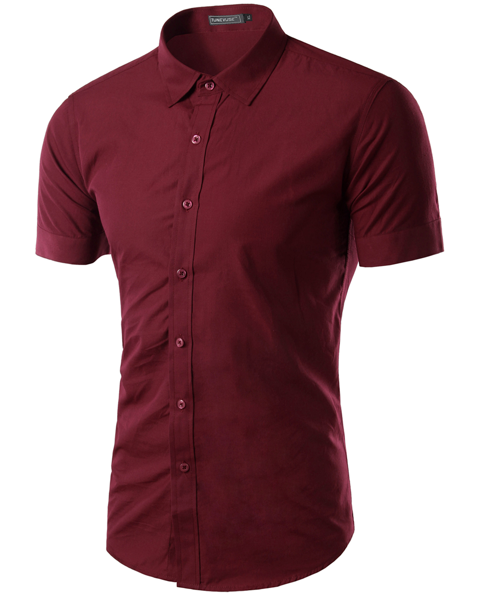 Free shipping 2015 mens slim fit unique neckline stylish for Fitted short sleeve dress shirts