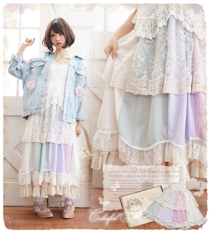 Princess sweet lolita skirts Petals multicolored stitching lace half skirt small refreshing summer refreshing maiden style FG002