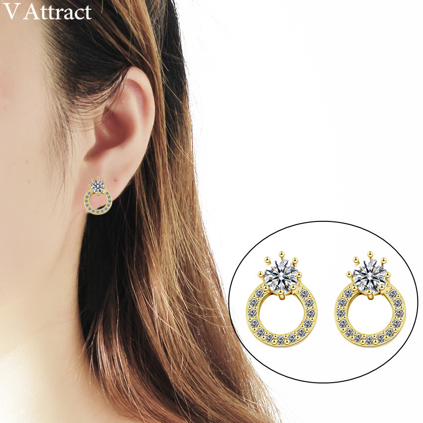 V Attract 10pair Classic Cz Round Stud Earring For Women Fashion Jewerly Geometric Circle Cubic Zirconia Pendientes Mujer Moda