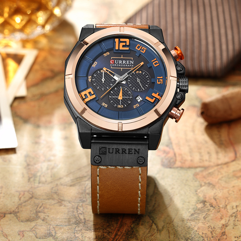 CURREN Top Brand Chronograph Quartz Sport watches Sport with Leather band 1
