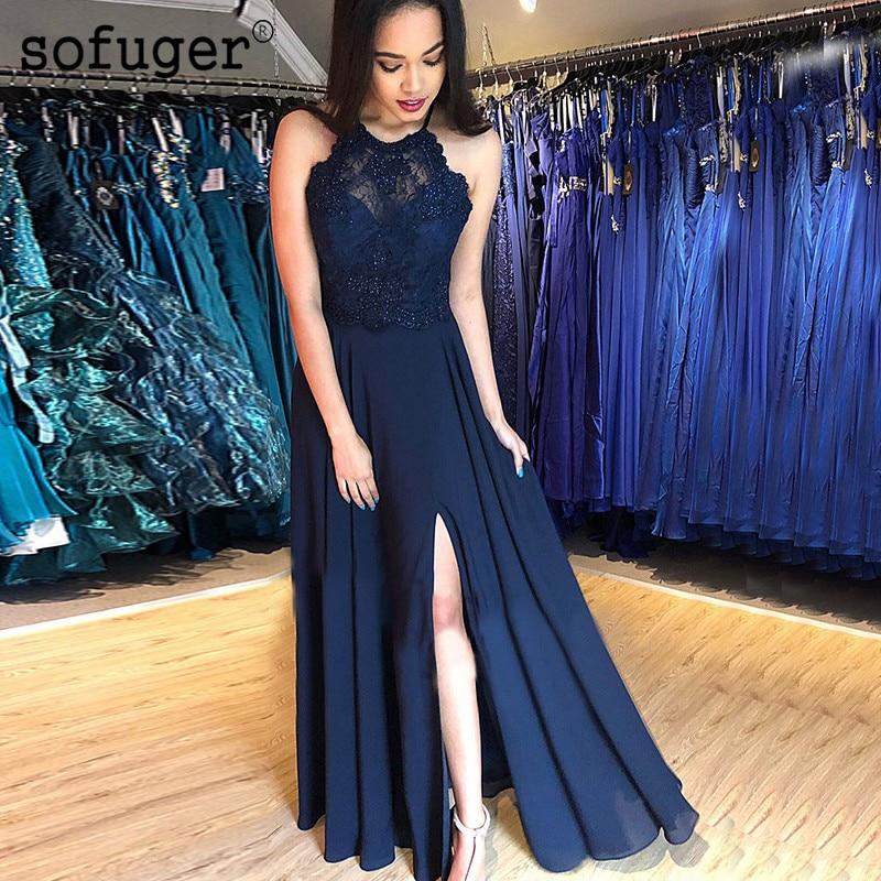 Royal Blue Summer Chiffon   Evening     Dresses   Beadings Appliques Long Illusion Back Robe De Soiree Arabic Muslim Special Occasion
