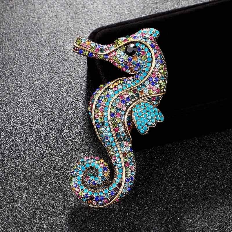 Big Size Arco Cavalluccio Marino Animale Spilla Per Gli Uomini gioielli Vintage Broache Cristallo Del Rhinestone di Modo Cappelli Accessori Hijab Pin