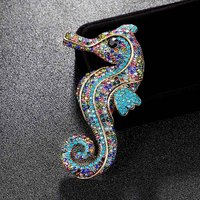 Big Size Bow Seahorse Animal Brooch For Men jewelry Vintage Broache Fashion Rhinestone Crystal Hats Accessories Hijab Pin