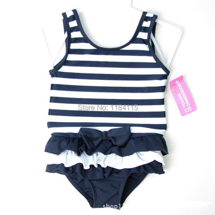 Baby Girls Swimwear Bathing Stripe Bow Bikini Children -2668