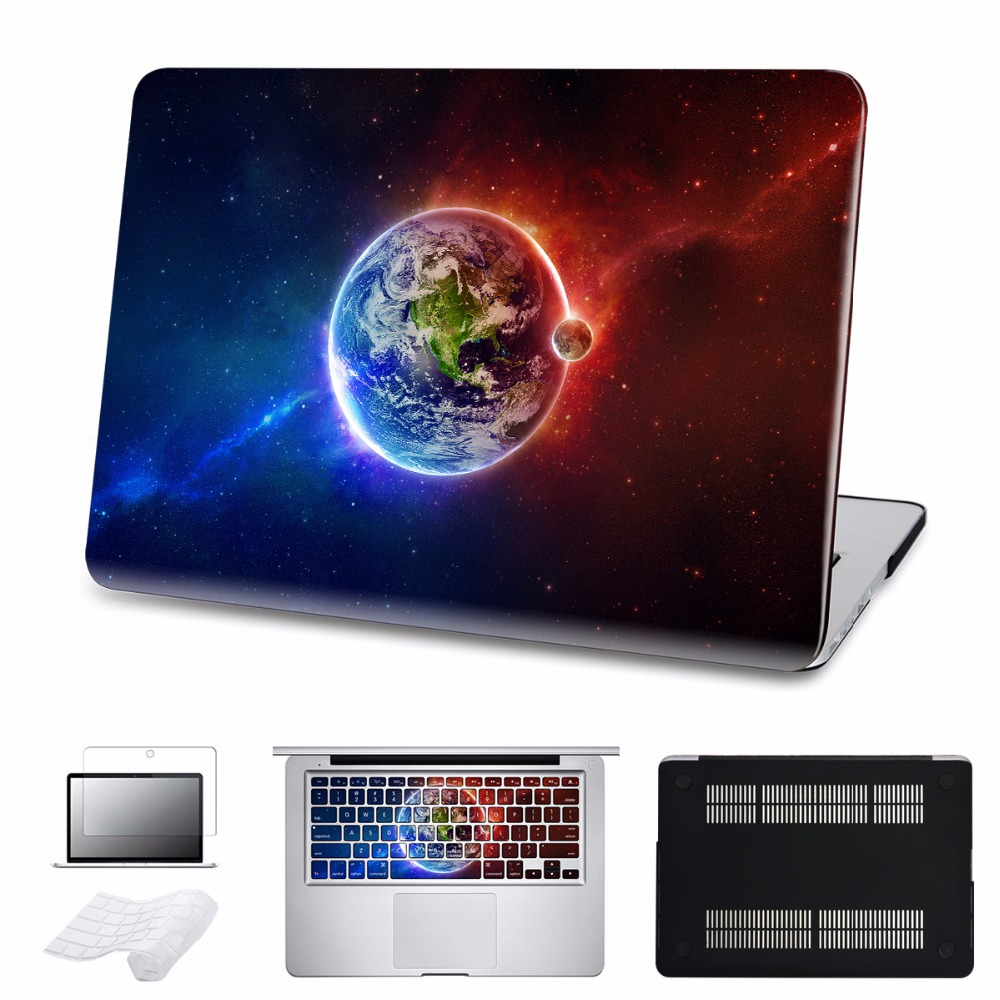 5 in 1 Bundle Earth Laptop Case Skin For MacBook Air Pro Retina 1112 13 15 for Mac book Case with Keyboard Sticker Sleeve ...