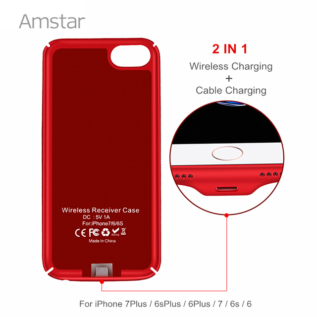 271cef252 Amstar Qi Wireless Charger Receiver Case Cover 2 in 1 Wireless Charging & Cable  Charging Mobile Phone Case for iphone 7 6S 6