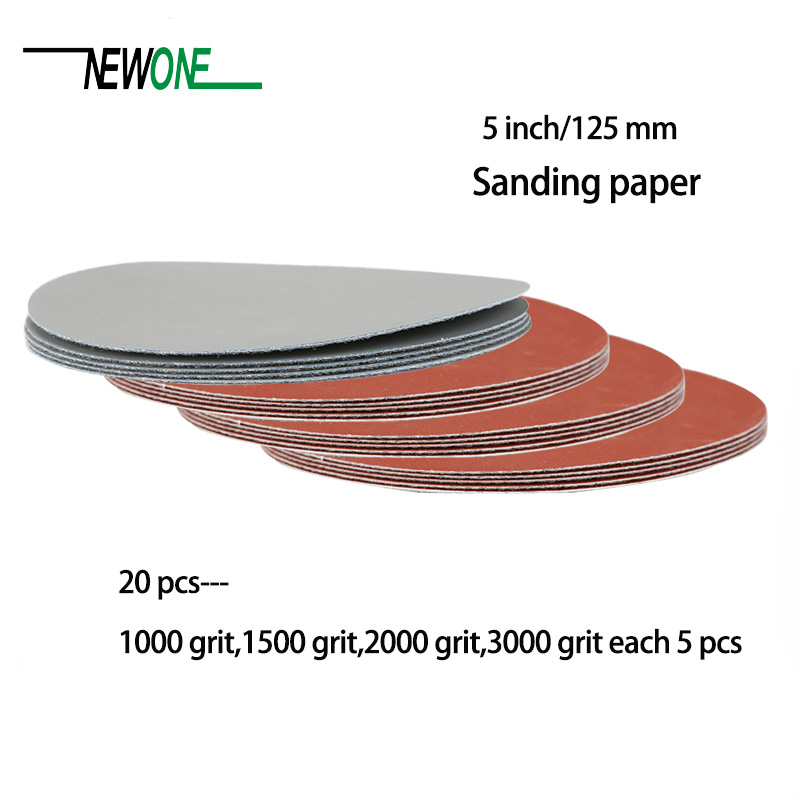 20pcs 125mm Sander Disc Polishing Paper Sanding Paper Disc #1000#1500#2000 #3000 Abrasive Tools For Polish Machine Without Hole