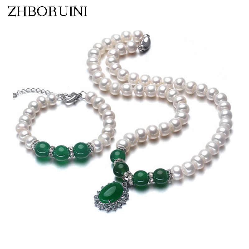ZHBORUINI 2019 Fashion Necklace Pearl Jewelry Set Freshwater Pearl 925 Sterling Silver Jewelry Green For Mother Women Gift
