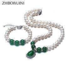 bd58780452e Zhboruini 2017 colar de moda pérola conjunto de jóias de água doce pérola  925 sterling silver jóias verde para mãe mulheres pres.