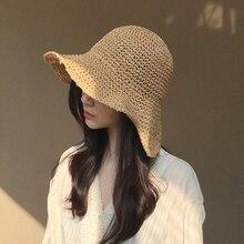 Verano de las mujeres sombreros de sol playa Panamá sombrero de paja ola  borde doblado al 72286ce79cbc