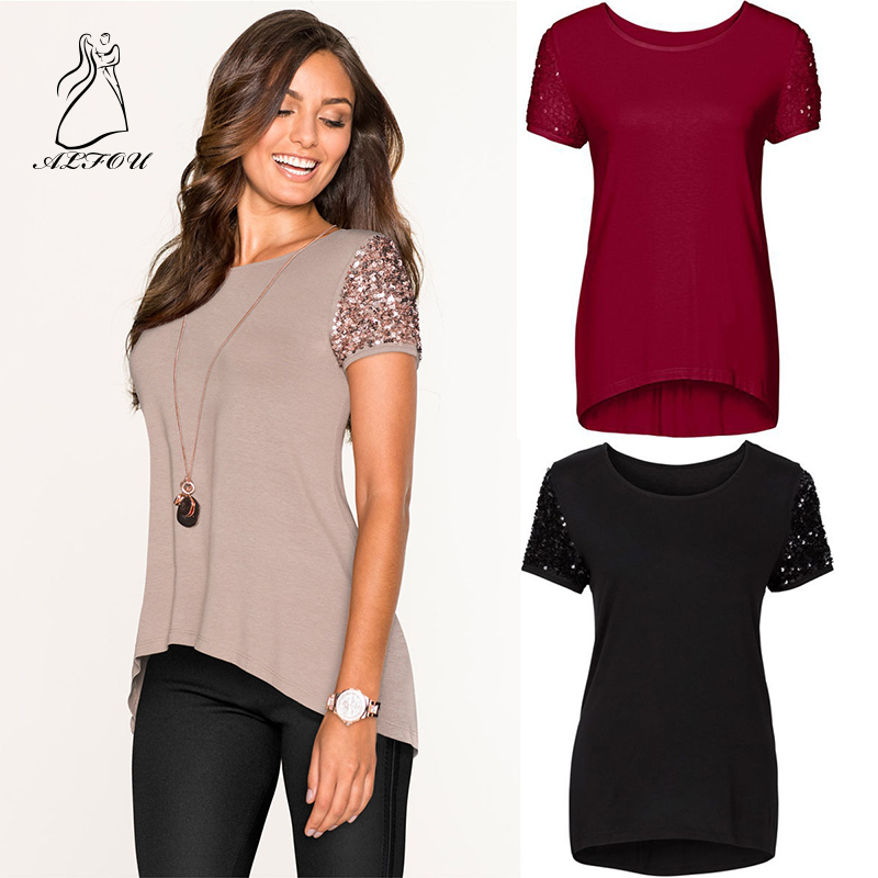 Women Summer Fashion Short Sleeve Sequined Solid Color Sequin Stitching Short sleeved T shirt Top Tees Women Designer Clothing in T Shirts from Women 39 s Clothing