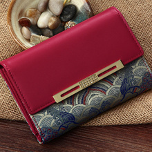 Sexy Burgundy Manual Embroidery 100% Real Silk Ladies Wallet Genuine Leather Wallet Women Free Shipping YJSN105-7