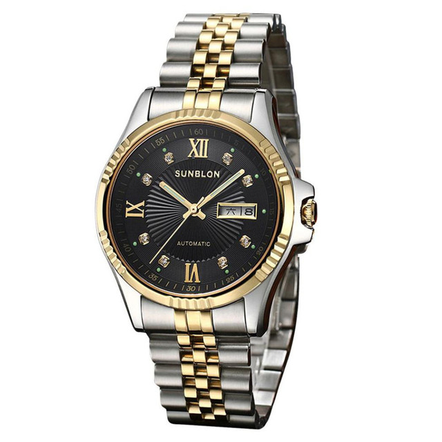 New Mens Watches Top Brand Luxury Water Resistant Stainless Steel Men's Automatic Mechanical Watch relogio masculino 2017 Clock