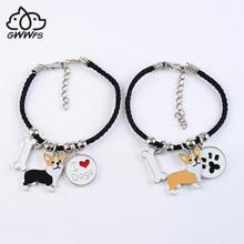 цены Welsh corgi pembroke charm bracelets for women girls men rope chain silver color alloy pet dog pendant male female wrap bracelet