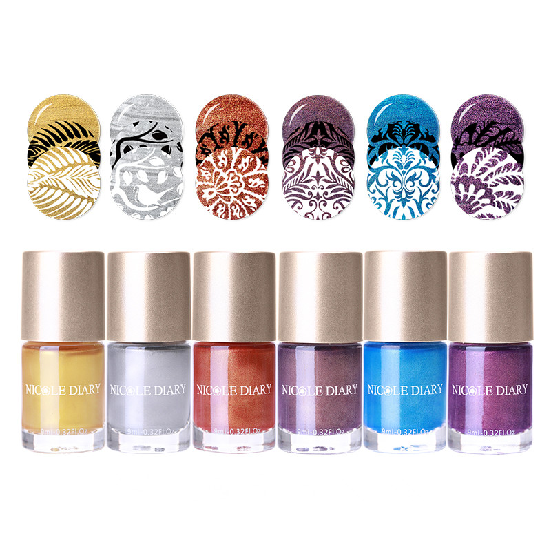 NICOLE DIARY 9ml Water Based Stamping Polish Pearl Series Nail Stamp Polish Manicure Nail Art Lacquer Varnish  6 Colors