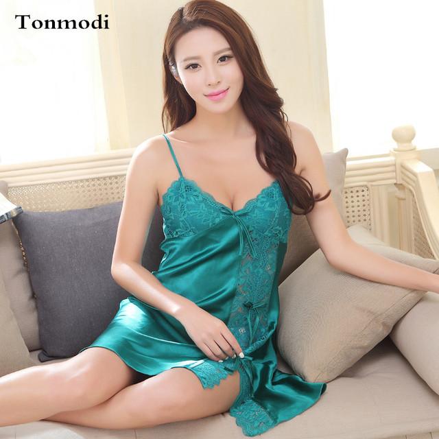2016 Luxo Elegante Mulheres Camisola de Seda Pijamas de Seda Das Senhoras Sólidos Malha Tentação Estilingue Camisola