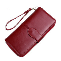 New Design Fashion Multifunctional Purse Genuine Leather Wallet Women Long Style Cowhide Purse Wholesale And Retail