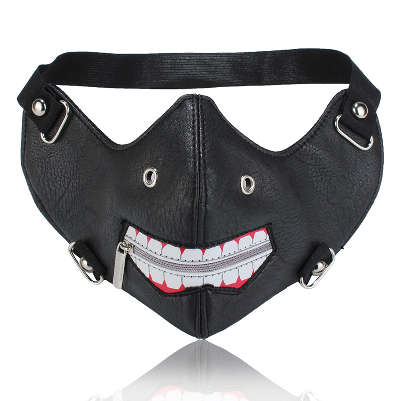 Personality Men Mask Unisex Dustproof Outdoor Black Fashion Mask PU Leather Rivet Zipper Mouth Cycling Masks