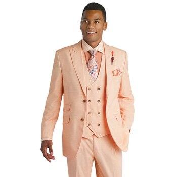 Custom Made Pink Wedding Suits for Men Suit Groom Jacket Slim Fit 3 Piece Tuxedo Custom Prom Men Blazer (Jacket+Pants+Vest)