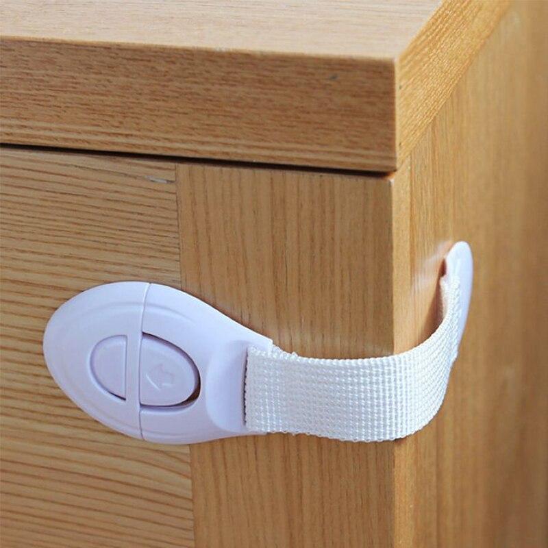 10 Pcs Plastic Locks Child Safety Cabinet Door Lock Anti-folder Hand Straps Cabinet Refrigerator Toilet Lengthened Baby Safety