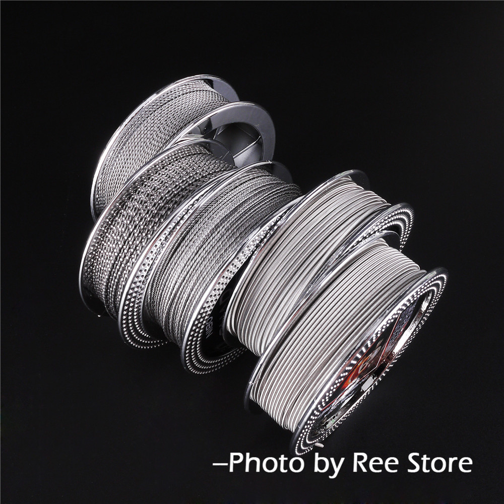 цена на PIRATE COIL 5m/roll NI80 Fused Clapton Alien Flat Twisted Quad Tiger Heating Wires RDA RTA Prebuilt Clapton Coil DIY Tools