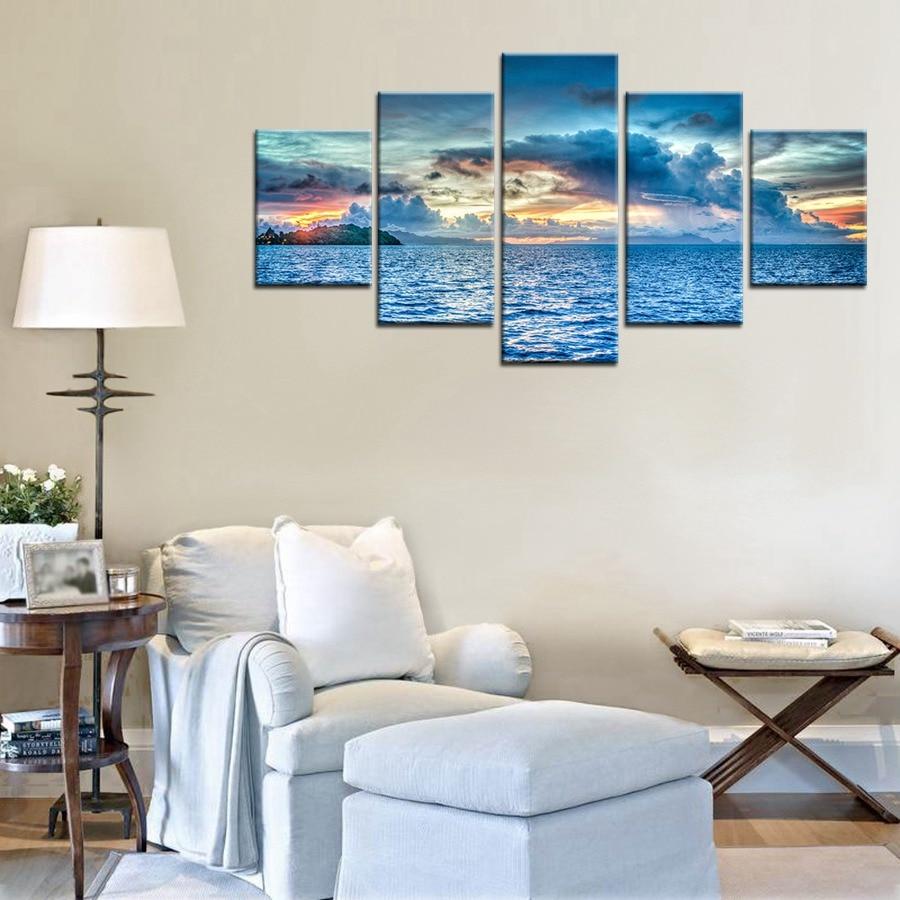 Bora Bora Island Sunset Landscape Oil Painting Wall Art Living Room ...
