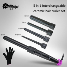 curlers conical curling iron single tube ceramic glaze pear flower cone electric hair curly : 110-240 - v Free Shipping