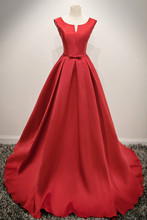 Real Photos Elegant Guest Plus Size Evening Gowns Red Cheap Under 100 Long Prom Formal Evening Dresses for Women Wear On Sale