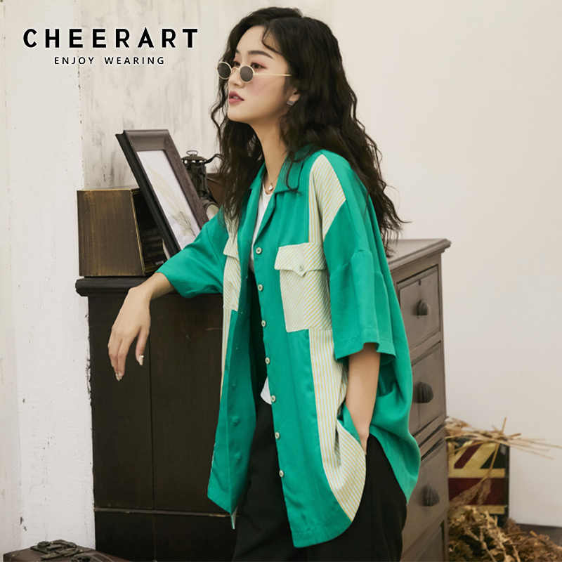 Cheerart Green Blouse Women Summer Top Color Block Loose Shirt Short Sleeve Lapel Button Up Blouse With Pocket