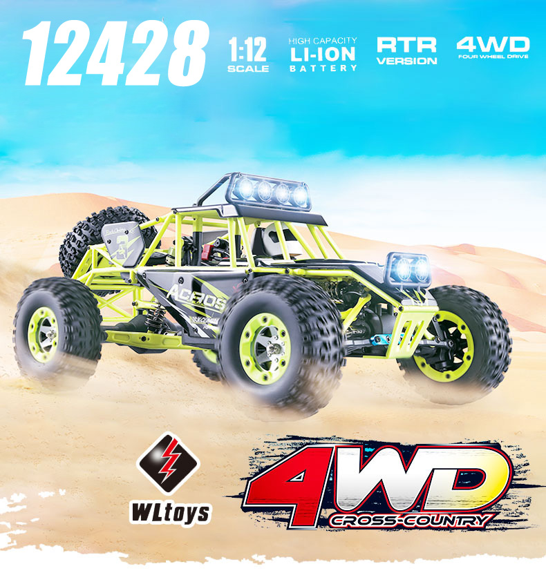 Original Wltoys 12428 RC Car 1/12 Scale 2.4G Electric 4WD Remote Control Car 50KM/H High speed RC Climbing Car Off-road vehicle wltoys k969 1 28 2 4g 4wd electric rc car 30kmh rtr version high speed drift car